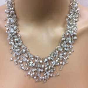 Imitation Pearl Necklace with Earrings